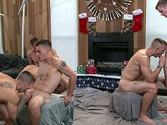 It's hard being a soldier (sometimes rock-hard). You spend your time overseas with no guarantee of making it home to your family, especially for holidays. This group makes the best of it with a good old-fashioned suck-fest.