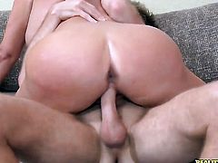 Blonde Karen Fisher with gigantic tits and shaved cunt is in heaven sucking Levi Cashs meaty love stick