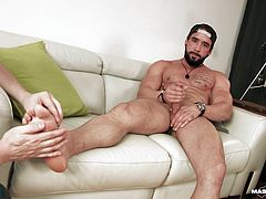 Pascal was playing a game with Zack on webcam. That's the bearded hunk by the way, and yeah, Pascal is one lucky bastard. The wheel is filled with sexual things for Zack to do, and he has to do what it says on the space where it stops.