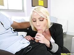 Blonde gets painted with cock cream
