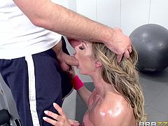 Nina is always working out at this all night gym, so that's why Keiran goes to the same one. He knows he will be able to see her hot body and maybe, get a chance to fuck her hard. He caught her working out nude and shoved his huge cock into her mouth. Her ass was oiled and waiting for him.