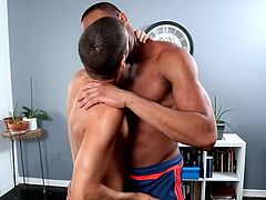 The chess game between Trent and Tommy was a good one, but Trent came out on top. A steamy kiss leads to clothes being shed, and Trent's big meat is the first to get gobbled. Enjoy this awesome interracial scene!