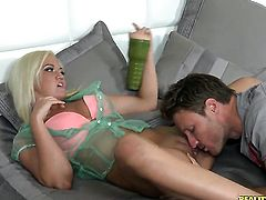 Tattooed Whitney Grace massages dudes love torpedo so that he moans and groans