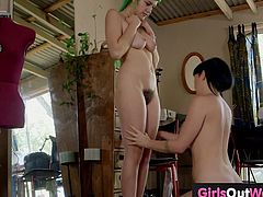 Hairy babe Emerald meets fashion designer Natalie who has some bad intentions, which results in endless lesbian fuck as these babes lick and rim each other