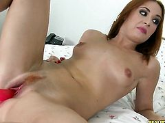 Redhead gets her pretty face jizzed on after sex with horny dude