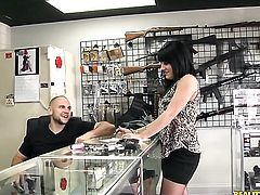 Tattooed babe Gin Marie takes dudes cum loaded love stick in her hot mouth