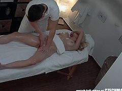 This masseur is the best in the business because he knows how to make all the horny women cum hard and scream with pleasure. He slowly starts by massage her legs, but soon he works his fingers up into her wet pussy. She is dripping wet by now and ready to take his big cock deep in her snatch.
