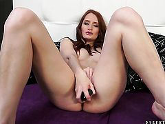 Redhead can't live a day without touching her wet hole