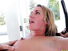 Blonde Sheena Shaw with round butt and bald twat lets Erik Everhard insert his tool in her bum hole before dick sucking