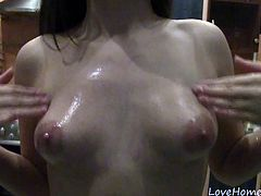 If there is a way this babe can use to get your attention, then it is definitely the way she plays with her big beautiful tits. After fondling them for a while, she will pour some oil on them.