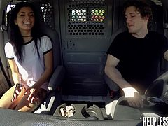Brick Danger became horny after seeing Gina Valentina in t-shirt and shorts. After she entered his car, he tied her hands and pushed the already rock hard dick into her mouth. After face fucking her for more than ten minutes, he caressed her soft body and fucked hard.