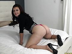 Brunette Jimmy Legend with big jugs asks her man to fuck her sweet mouth