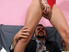 Blonde Lacey Leveah gets orally fucked by Voodoo s beefy mouth stretcher