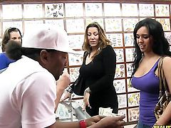 Brunette latin Jmac with giant tits and shaved twat gagging on dudes stiff love wand