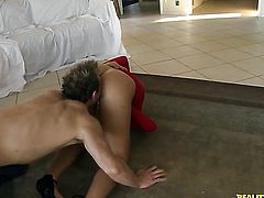 Blonde Jessie Rogers with bubbly bottom and clean muff gets down and dirty in cum flying sex action