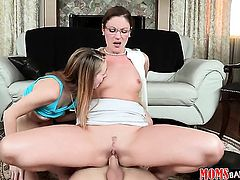 Michael Vegas uses his meaty rod to bring blowjob addict Brunette Samantha Ryan with smooth muff to the edge of nirvana