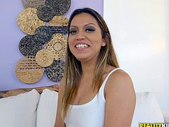 I spotted a hot Latina walking down the street and invited her back to my condo, where we could have some fun. She is incredibly sexy and looking for a man to fuck. She couldn't wait to suck on my hard cock and eat my sperm.