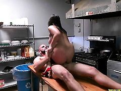 Brunette senorita with big ass and clean bush gives stroke job on camera for your viewing pleasure