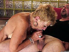 Blonde with huge breasts is never enough and takes dick in her loose pussy hole again