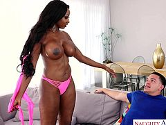 His best friend has a hot ebony mom that is such a tease. She was chilling out by the water, when he came over and checked out her natural black butt and boobs. Soon she was riding his stiff, white cock. Diamond gets her pussy rubbed and she jacks him off.