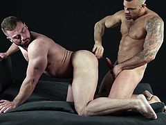 These men are gods, and the sex they have is rough and hard. The muscle bound meat head bends over and takes his lover's girthy member deep in his tight asshole. He gets stretched wider than he ever has before.