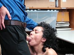 Maya had been a very bad girl. She was caught stealing some make up and now she has to be punished. Perhaps, if she lets the cop fuck her hard from behind, she will get off with only a warning. It worked!