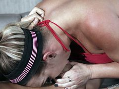 Red-hot blonde goddess Cali Carter takes a break from some light weightlifting, to slake her thirst for sex. Bending forward, she gets her tight ass and sweet pussy fingered by horny stud Xander Corvus, and takes a deep fucking from behind. Turning around, she engulfs his hard dick with her mouth.