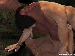 Handsome and horny 3D cartoon hunk enjoying having his tight asshole licked and fucked while down in a sewer