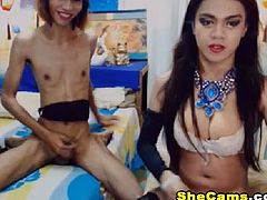 Watch this shemale couple sizzles in this hot webcam show. Together with her partner these horny beings venture into a hot and lustful sexcapade. A good looking tranny gets a nice handjob and blowjob from a sexy tranny.