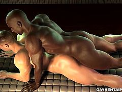 Handsome muscular 3D cartoon hunk sucks cock and gets his tight ass fucked deep and hard before getting cummed on by a horny ebony stud
