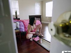 Violet spends time masturbating while her roommates not around, not knowing that hes just by the door spying her. He couldnt contain himself so he step in and gives her a hand, she gives him a blowjob then gets her pussy banged and ejects his cumload.