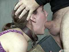 slave takes her masters' cum loads
