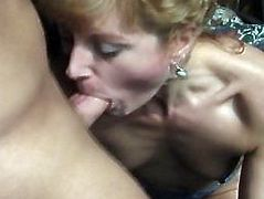 Skinny blonde cougar begs him to fuck her in the ass