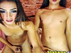 This playful couple gets playful and kinky with one another and they also play with their own hard rods. The sexy brunette tranny deepthroats and almost gags on the dick inside her mouth. The good looking ladyboy loved it so much that his big cock is being sucked. This playful couple gets playful and kinky with one another and they also play with their own hard rods. The sexy tranny deepthroats and almost gags on the dick inside her mouth. This is a blowjob webcam show that you sure don't want to miss
