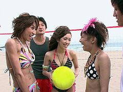 Beach volley and orgy with several beautiful Japanese ladies