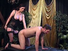 Horny domina Cherry knows her job and starts this sexual session with tough caresses, whipping her sex slave's bare ass. Looks like K. Dynamite got used to such treatment and tries to relax, enjoying her every hit. Join and punish your submissive slave!