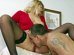 Sexy blond Milf Anna is shy but slutty and she needs a real man to give her what she needs in that slutty shaved pussy