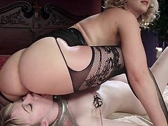 Sex-crazy mistress Cherry Torn makes lick pussy and fucks anus with the help of strapon