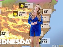 She is everyone's favorite meteorologist, and after giving the weather report, she bends over to get fucked hard by the cute new intern. This blonde with big tits likes it so deep in her warm cunt. She is cumming all over the place.