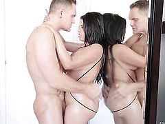 Nacho Vidal makes Brunette Kesha Ortega suck his meaty meat stick non-stop, HotShame.com