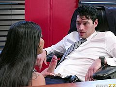 Personal helpers at the office have been proven to reduce stress by reducing workload. Xander is particularly drained today, and his helper Mary comes in, attuned to her boss' moods. She decides to go the extra mile, starting by using her mouth to suck his cock, then her tits - to help stroke it.