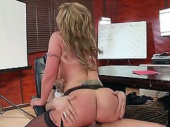 Curvy big racked MILF boss Chloe Amour with hot juicy ass needs sex badly. She gets her fuck hole royally fucked by horny as hell dude Xander Corvus. Nice office fuck with huge titted mom!