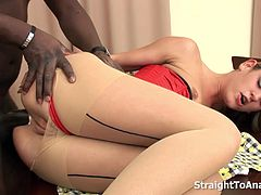 She gets fucked straight to her ass. Taking a big black cock whole inside her streched tight ass.