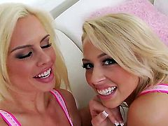 Tara Lynn Foxx and Zoey Monroe are two pretty blondes that love lesbian anal fun. They tongue fuck each others assholes with passion before it comes to ass dildoing. They use pink dildo eagerly!