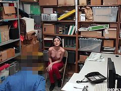 Angel has been a very bad babe. She was caught shoplifting and now she is in trouble. Will she be able to go home and not to jail. Maybe she can bribe the store manager with sex. He will let her go, if she sucks him and takes it deep.