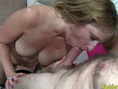 Sexy granny and a mature guy kiss each other he sucks her tits and finger her pussy She sucks his dick and he lick and finger her pussy Then fucks her pussy so deep and cum in her mouth
