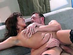 Brunette with big natural tits in this video loves having her juicy pussy stuffed with a nice stiff sausage. She gets her pussy licked afterwards as the guy goes down on her