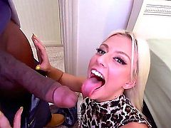 Jessie Volt is one hot blonde who can't wait to get her pink pussy hole filled with big black rod. Round ass chick takes it doggy style on the edge of the bed, She loves hard interracial sex.