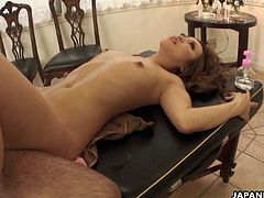 Flat chested Japanese redhead beauty Tiara Kujyo has her sexy body covered in oil during an erotic massage. Seeing that she is all warmed up, the masseur decides it's time to plow her hairy twat.