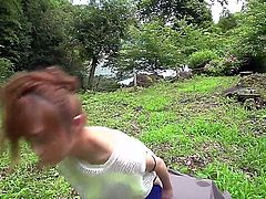 Japanese honey Mikuru Shiina displays her nice boobs as she gets her bushy Asian pussy stimulated with vibrator under the open sky, Watch exotic chick have crazy fun in nature